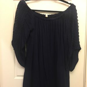 """Tops - NWT- Navy """"OTS"""" Tunic with Lace Sleeves"""